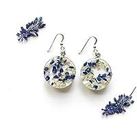 Orecchini pendenti in resina e fiori veri di muscari e nebbiolina - regali per amante della natura, gioielli fatti a mano naturali