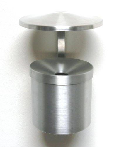Wandaschenbecher Ø 14,5x27 cm, Aluminium, mit Dach, Marke: Szagato, Made in Germany (Ascher,Wand-Aschenbecher, Wand-Ascher klappbar)