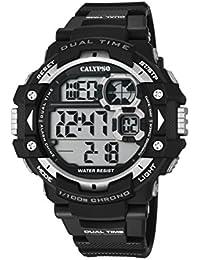 Calypso Hombre Reloj digital con pantalla LCD Pantalla Digital Dial y correa de plástico en color negro K5674/1