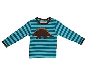 Toby Tiger Unisex Baby Organic Long Sleeve Dinosaur Applique T-Shirt Turquoise/ Pale Turquoise 6 - 12 Months