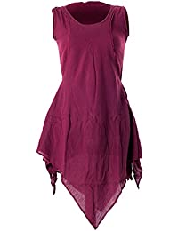 Vishes – Alternative Bekleidung – Zipfeliges Lagenlook Shirt Tunika aus handgewebter Baumwolle – im Used-Look