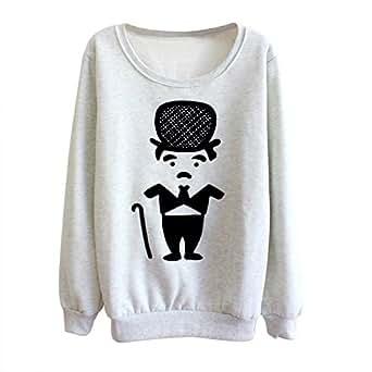 SODIAL(R) Coreenne Casual Femme Pull Personnage de Bande Dessinee Imprime Lache Polaire Chandail Sweat-shirt Col Rond Tops Gris