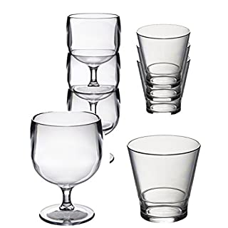 Roltex Special Stacking Set Roltex Polycarbonate unbreakable reusable plastic glasses, 6 STACKING Wine Glasses (220ml), 6 Roltex STACKING Whisky/Juice Glasses (250ml) See individual items for exact sizes and volumes
