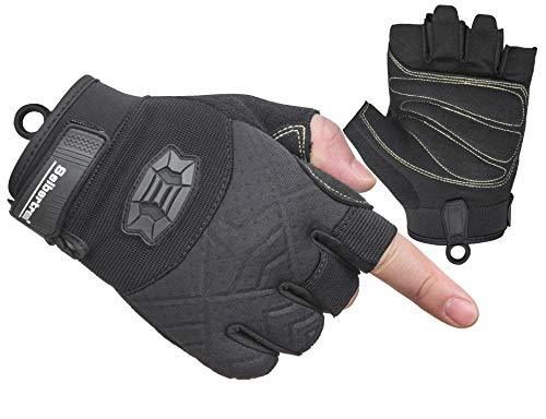 Seibertron Half-Finger Padded Palm Lightweight Breathable Climbing Rope Handschuhe/Kletterhandschuhe for Kletterer, Klettern, Rettung, Abenteuer, Segeln, Kajakfahren, Sport imFreien Black S