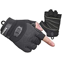 Seibertron Half Finger Padded Palm Lightweight Breathable Climbing Rope Gloves For Climbers, Rock Climbing, Rescue, Adventure, Sailing, Kayaking, Outdoor Sports Black XXL
