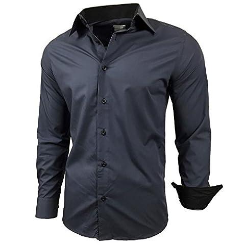 Herren Kontrast Basic Hemden Business Freizeit Langarm Anzug Hochzeit Hemd R-44, Farbe:Anthrazit;Größen:4XL