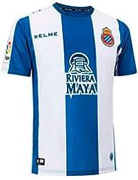 KELME Camiseta RCD Espanyol Primera Equipación 2018-2019 Azul-Blanco Talla ...