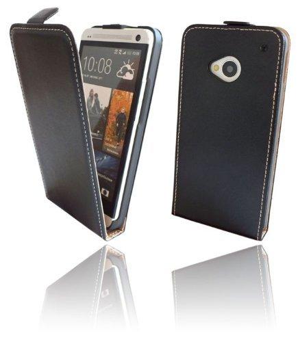 Klapptasche Schutztasche für das neue HTC ONE (M7) in Schwarz Tasche Hülle @ Energmix