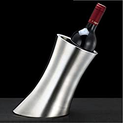 Chsukho Stainless Steel Ice Bucket Oblique Horn Ice Bucket Wine Ice Bucket Double-wall Champagne Ice Bucket