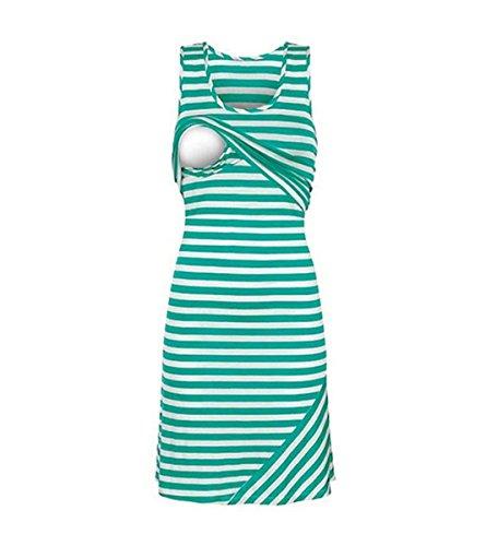 Carolilly Damen Schönes Mutterschafts Kleid Umstandskleid Sommer Streifen Kleid Zum Stillen (XL, Grün)