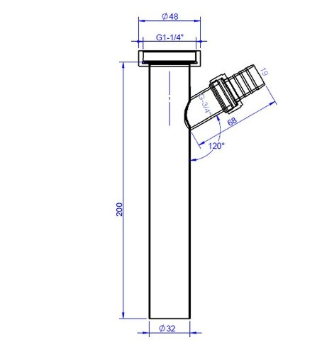Imagen 3 de DeLanwa 604026 - Tubo (unión en Y para desagüe de 1 1/4 y 3/4 20 cm de largo acero inoxidable acabado pulido)