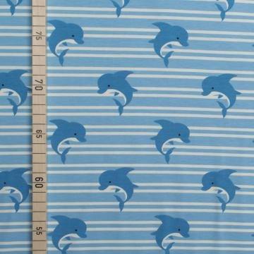 ine auf Streifen - Hellblau - Jersey (Fisch Kostüm Diy)