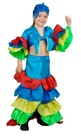 DISFRAZ Rumbera Azul TALLA 4-6 AÑOS - 5-6 (Kostüm Rumbera)