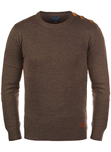 Blend Louis Herren Strickpullover Feinstrick Pullover Mit Rundhals Und Schulter-Knopfleiste, Größe:M, Farbe:Mocca Mix (70816)