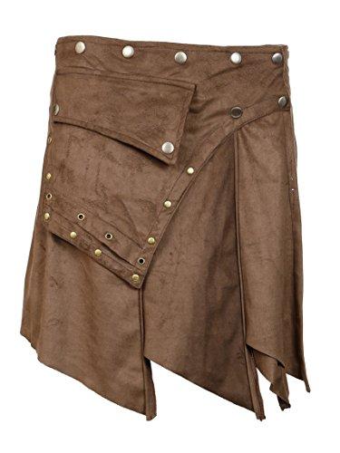 TATTOPANI Minifalda de Mujer de Ante. Ajustar el Estilo con el diseño de Cierre del botón(LMN-6063-BRW-S)