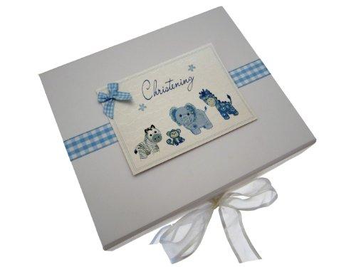 White Cotton Cards Erinnerungsbox zur Taufe, A5, Blau