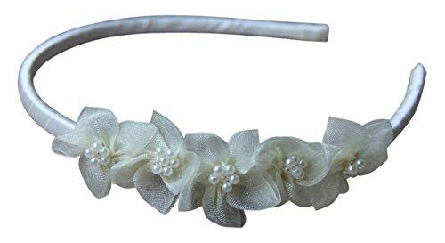 BIMARO Haarreif Mädchen creme beige edler Satin festlich mit Blüten Perlen Kopfschmuck Kommunion Blumenmädchen Hochzeit