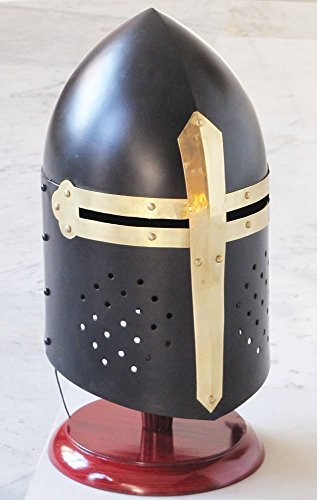 Shiv Shakti Enterprises Medieval Black Knight Sugarloaf Armour Helmet w/ Wooden Stand Reenactment Larp by Shiv Shakti - Medieval Black Knight Kostüm