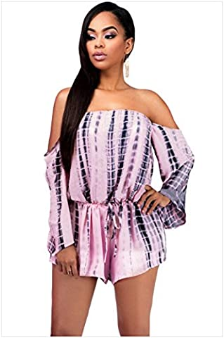 GS~LY Halter femmes cou long sleeve tie dye Cordon coton pyjama short rose,DE,S