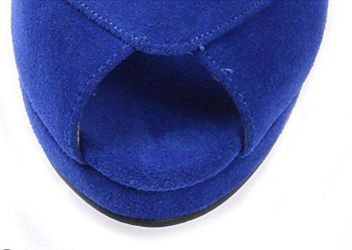 SYYAN Damen Wildleder Spitz Fisch Mund Handbuch Pumpe Plattform Kleid Sandalen Blau Blue