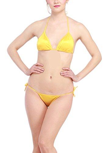 Glus Satin Halter Bikini Honeymoon Bridal Sleepwear Lingerie Set, Size- Free (Yellow)