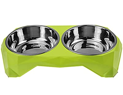 Pet Dog Bowl - Dog Removable Bowl with Non-Slip Stand, Stainless Steel Food Water Double Bowls Feeder for Small Dog Cat Ferrets from LY