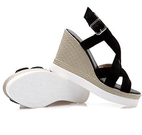 UH Femmes Sandales à Talons Compensees avec Plateforme Bout Ouvert de Bandage Confortables Simple Noir