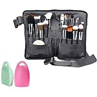 WasonD 32 Bolsillos Bolsa de Maquillaje Cosmético para Brochas Cuero de PU Delantal de Maquillador Pinceles Organizadores Make-up Pouches + Cepillo Limpieza Maquillaje