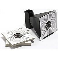 Nitehawk - Porte-cible entonnoir avec récupérateur de balles et 100 cibles - pour fusil à air comprimé/pistolet d'airsoft - acier - pour cibles de 14 cm