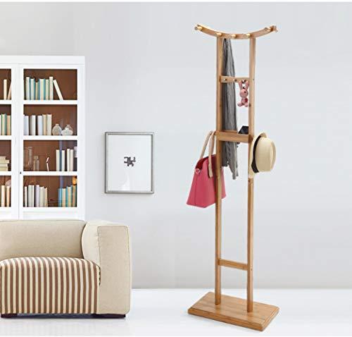 Double Coat Rack Haken (WEII Massivholz-Kleiderständer Creative Double Rod Crescent-Förmige Boden Coat Rack Solid Wood Storage Möbel,Bild,Einheitsgröße)