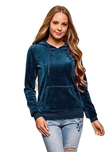 oodji Ultra Mujer Sudadera Básica con Bolsillo, Azul, ES 44 / XL