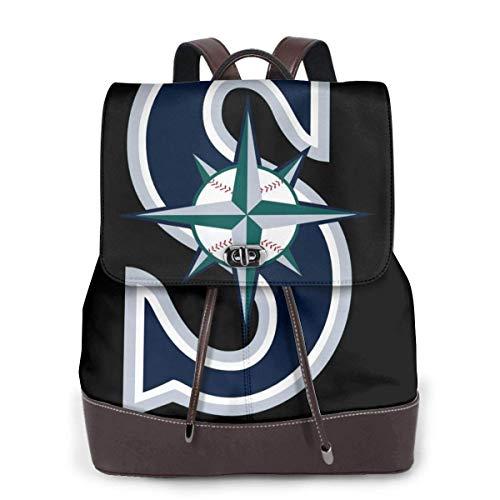 Seattle Baseball Fan M-ariners Fans Damen Leder Rucksack Multifunktions College School Laptop Bookbag