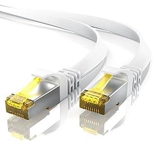 5m CAT 7 Netzwerkkabel Flach - Ethernet Kabel   Gigabit Lan 10 Gbit/s   Patchkabel - Flachbandkabel - Verlegekabel   Cat.7 Rohkabel U/FTP PIMF Schirmung mit RJ 45 Stecker   Switch Router Modem