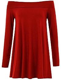 Frauen Plus Size Schulterfrei Ausgestelltes Langarm-Swing-Kleid 36-48