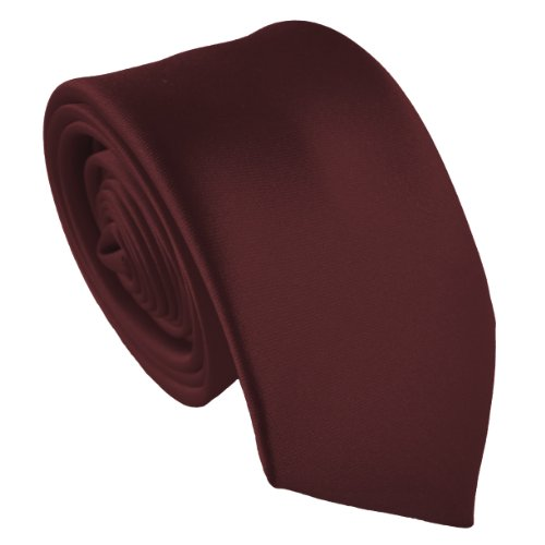 Great British Tie Club 100% Satin Maigre Cravates - Différentes Couleurs (Bordeaux)