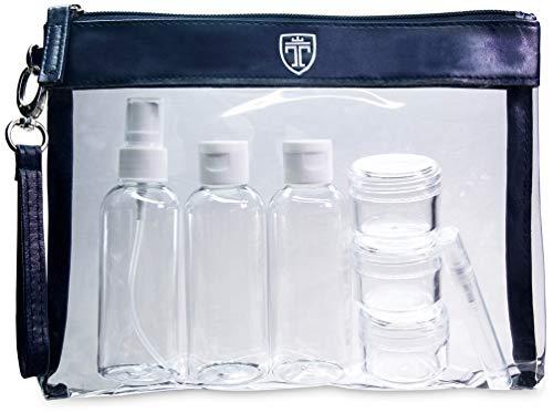 TRAVANDO Set da viaggio trasparente con 7 contenitori │ Kit da aereo con bottiglie da viaggio │ Contenitori per liquidi │Busta da viaggio Set