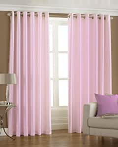 Buy PINDIA 3 PC Combo Faux Silk Eyelet Door Window Curtain, Polyester Plain  Ringtop - 6 ft - Baby Pink Online at Low Prices in India - Amazon.in