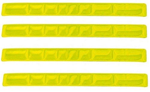 4er Set Reflexband - Reflektorband Schnapparmband Reflexbänder - in verschiedenen Farben (Neongelb)