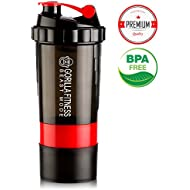 Protein Shaker Bottle, 500ml 100% Leak Proof Non-Toxic BPA Free Shaker Mixer, With Compartment for Powder and Pills Storage, Sports Blender Shaker Cup Gorilla Fitness Motivational Supplement Shaker, UK Compact Bottle Screw Top Water Bottle Eco Friendly, Fast Water Flow, Flip Top, Opens with 1-Click