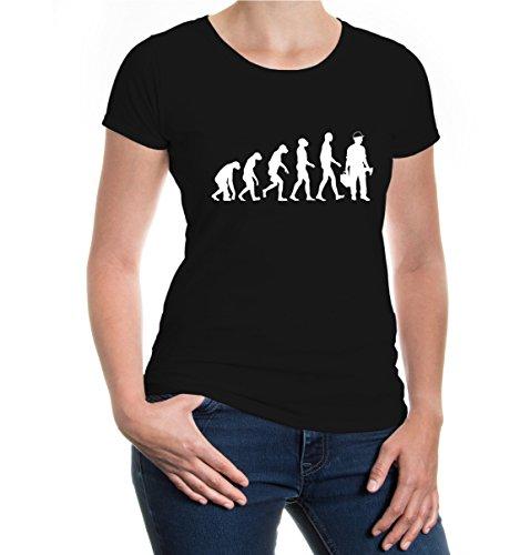 buXsbaum® Girlie T-Shirt The Evolution of Worker Black-White