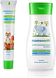 Mamaearth 100 Percent Natural Berry Blast Kids Toothpaste, 50gand Gentle Cleansing Shampoo for babies (200 ml,