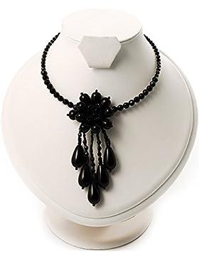 Sinnliches Collier mit floraler Verzierung aus schwarzen Perlen