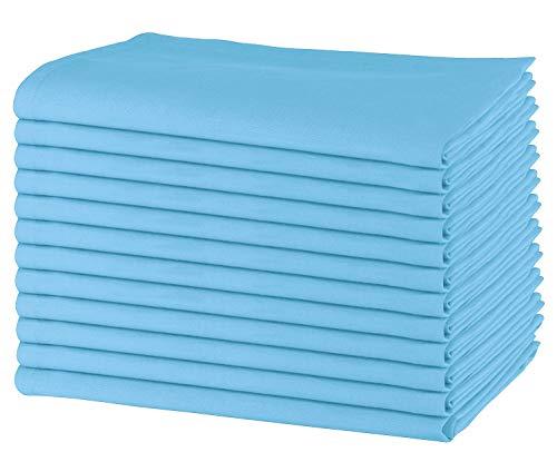 Sweet Needle – Packung mit 12 übergroßen Servietten, 100% Baumwolle, 50 cm x 50 cm, Schwerer Stoff, für den täglichen Gebrauch mit Gehrungsecken - himmelblau (Bulk Polyester-servietten)