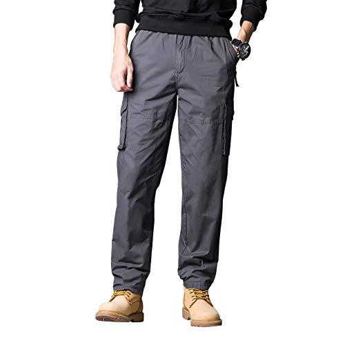 Gmardar pantaloni uomo cargo pantaloni da lavoro con multitasca tasche elastica vita elegante cotone 100% larghi fit casual regular taglie forti diversi colori (grigio scuro-v tasca, 3xl)