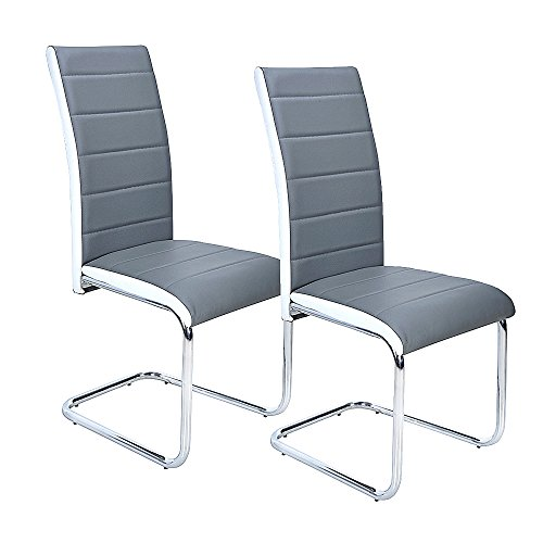 Panana New Grey Faux Leather Dining Chairs High Back and Chrome Legs (2 Pcs)