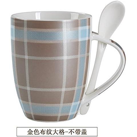 YX.LLA Elegante tela oro coppe in ceramica Home Acqua latte tazza Mug con cucchiaino Tazza (Grande Cina Tazza Di Caffè)