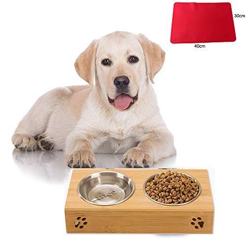 Teammao Hundenapf Katzenapf Doppel Fressnapf mit herausnehmbarem Edelstahl Wassernapf Haustierschalen Hölzerne Basis Tablettmatte Food Water Haustier Bowl für Hamster, und Kleine Haustiere. (M) -