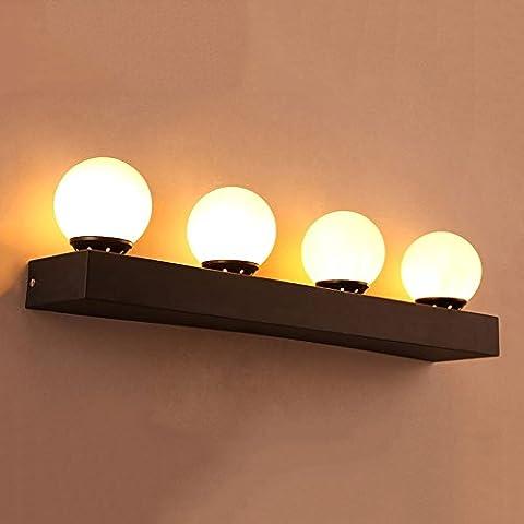 LOFT American Retro Ball Lampe de table en verre de fer Creative Restaurant Bar Chambre à coucher Bedside Café club Single / 2/3/4 Head LED Wall Light 111V ~ 240V ( conception : 4HEADS )