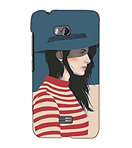 Fuson Designer Back Case Cover for Micromax Bolt Q336 (A girl with hat theme)