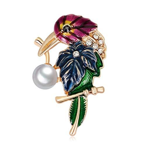 Thomasmo Praktische Hot Enamel Persönlichkeit Imitation Pearl Parrot Birds Cartoon Broches Corsage Pins Weibliche Schmuck Zubehör Geschenke(None Blue AL273-A) -